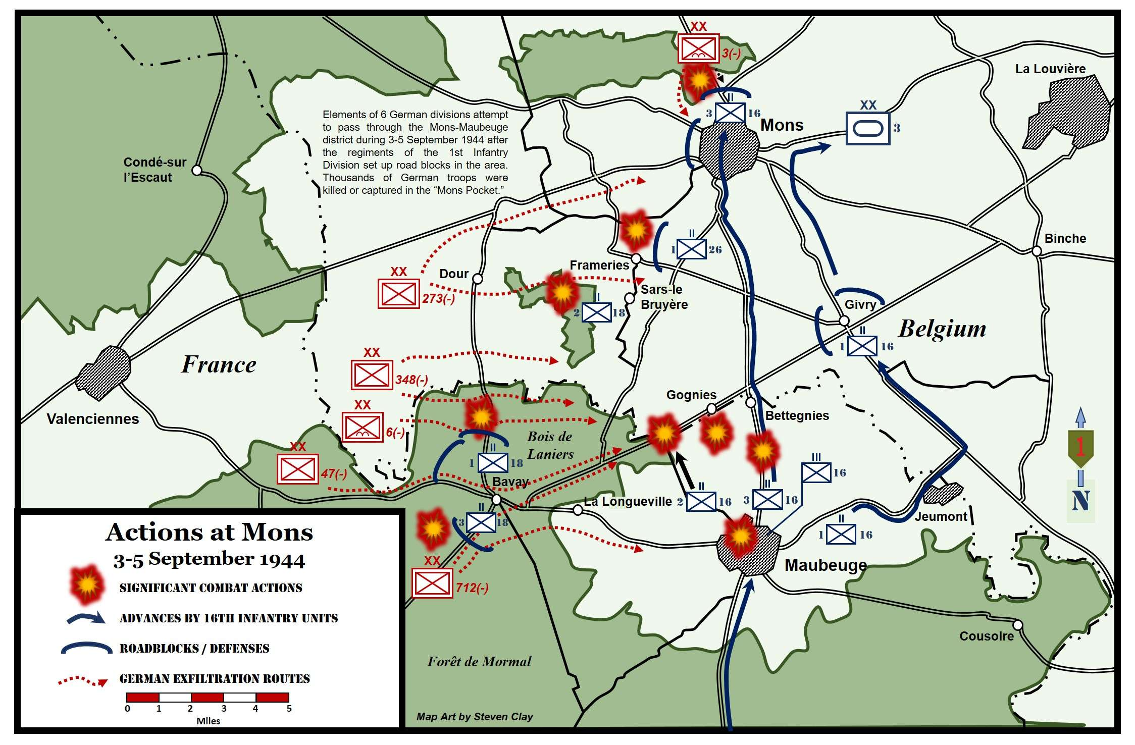 Actions at Mons Belgium 35 September 1944 16th Infantry
